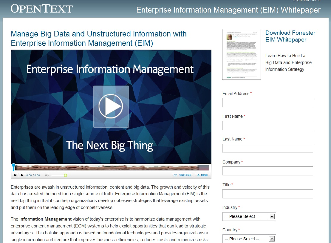 OpenText home page