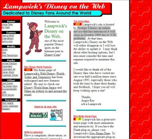 The old Lampwick's Guide to Disney on the Web
