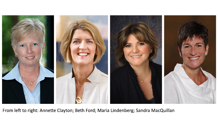 Photo 'women in supply chain', featuring Annette Clayton, Beth Ford, Maria Lindenberg and Sandra MacQuillan.