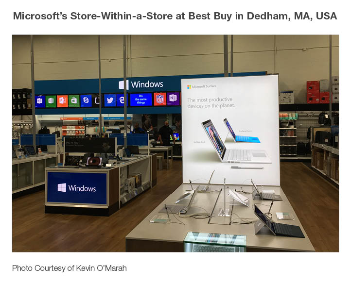 Photo of Microsoft's store-within-a-store at Best Buy in Delham, MA, USA.