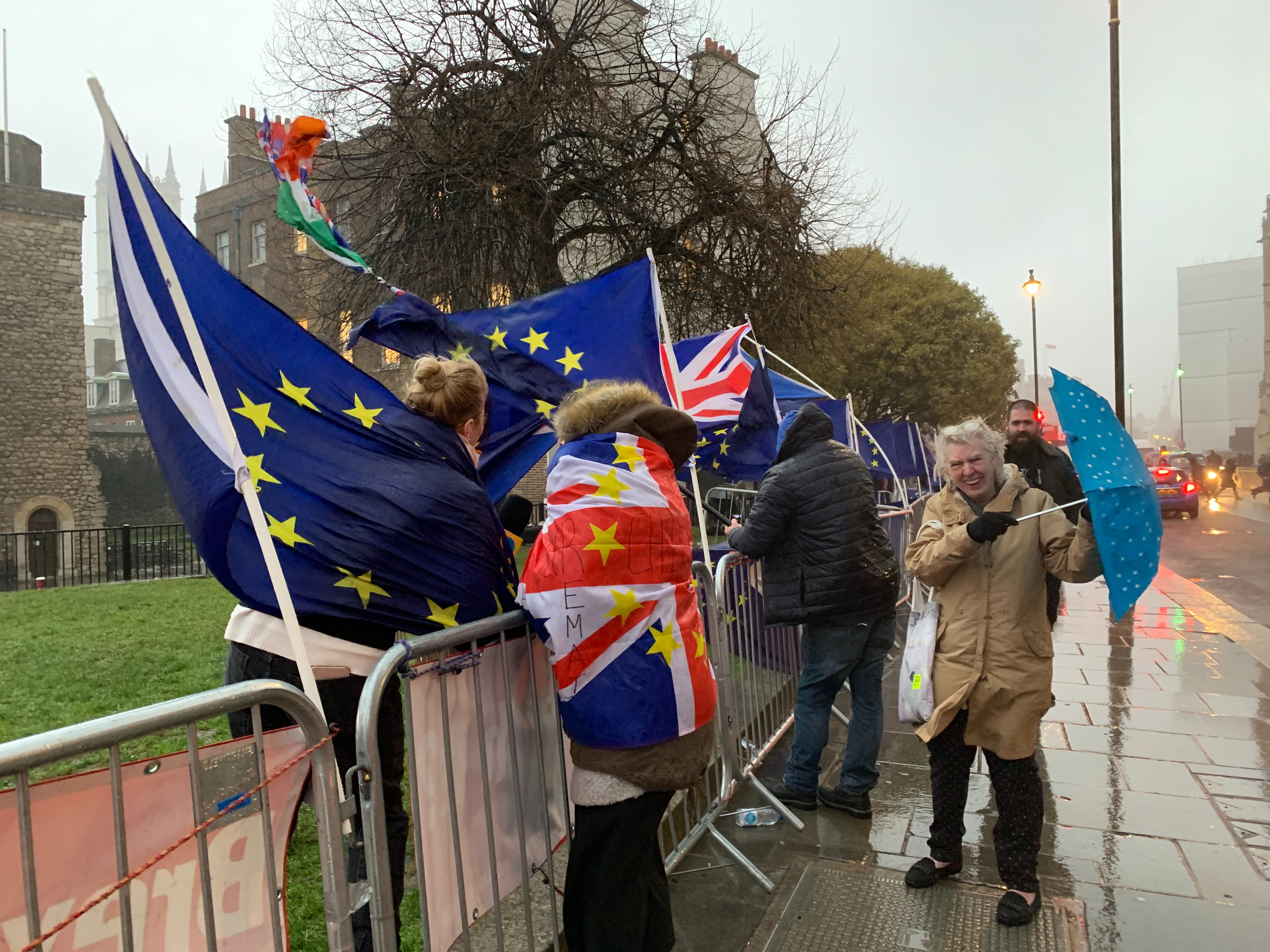 Protesters outside the Palace of Westminster in London