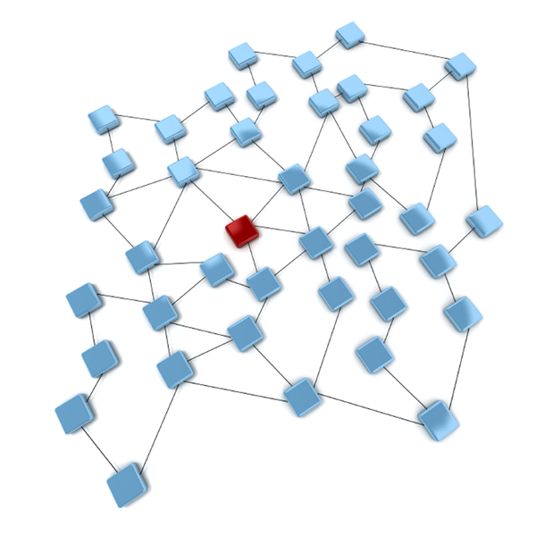 3D rendering of blue squares and a red one connected by black lines