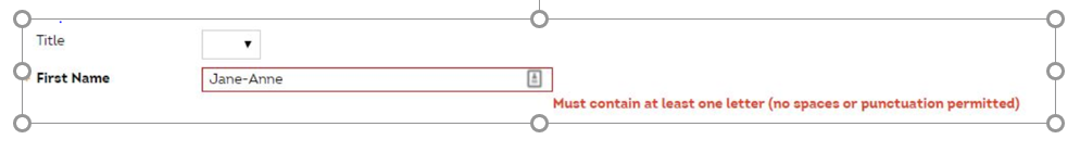 Online account won't let the person's real name be entered due to bad validation rules
