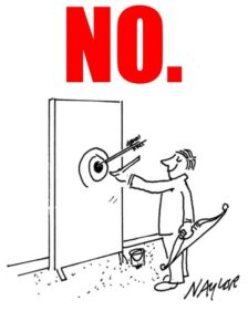 """Cartoon of man drawing target around an arrow, with big red """"No"""" over it."""
