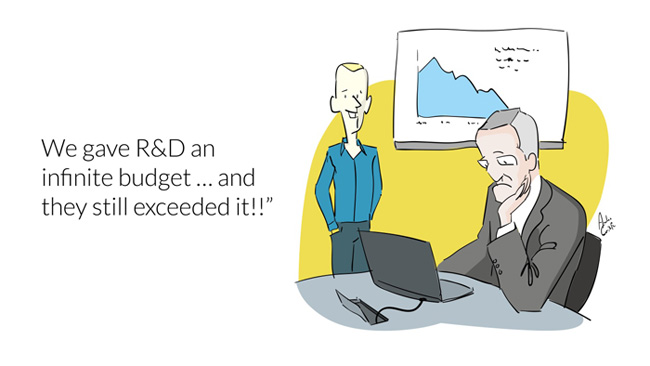 Cartoon about R&D budgets always being exceeded.