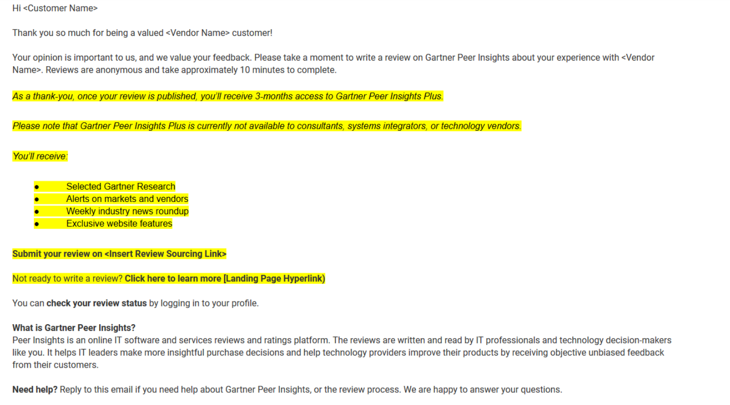 Email Template Peer Insights