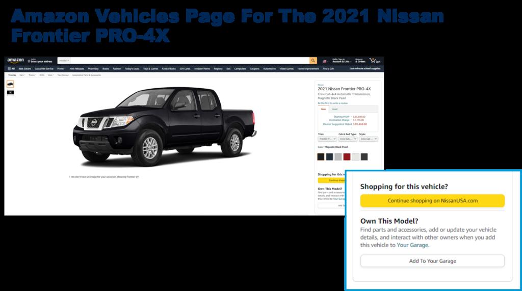 Amazon Vehicles Page Example