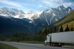 (OKay, I did not drive a truck this big and the mountains weren't that high, but you get the idea)
